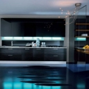 Stylish Futuristic Glossy Black Blue Luxurious Kitchen Design