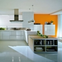 chic-fun-luxurious-orange-yellow-white-kitchen-design-long-rectangular-fireplace