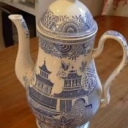 Antique Blue And White Coffee Pot